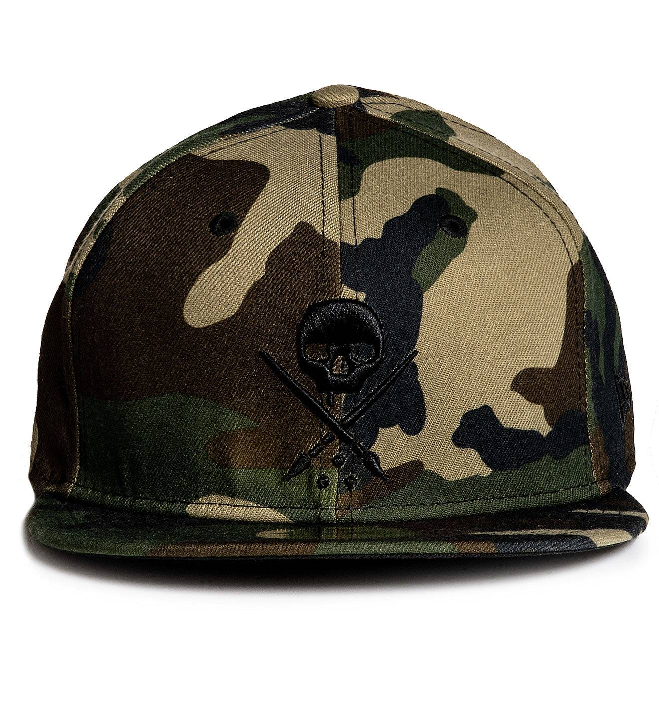 Mens Fitted Badge Stretched Camo, CAMO / 73/8