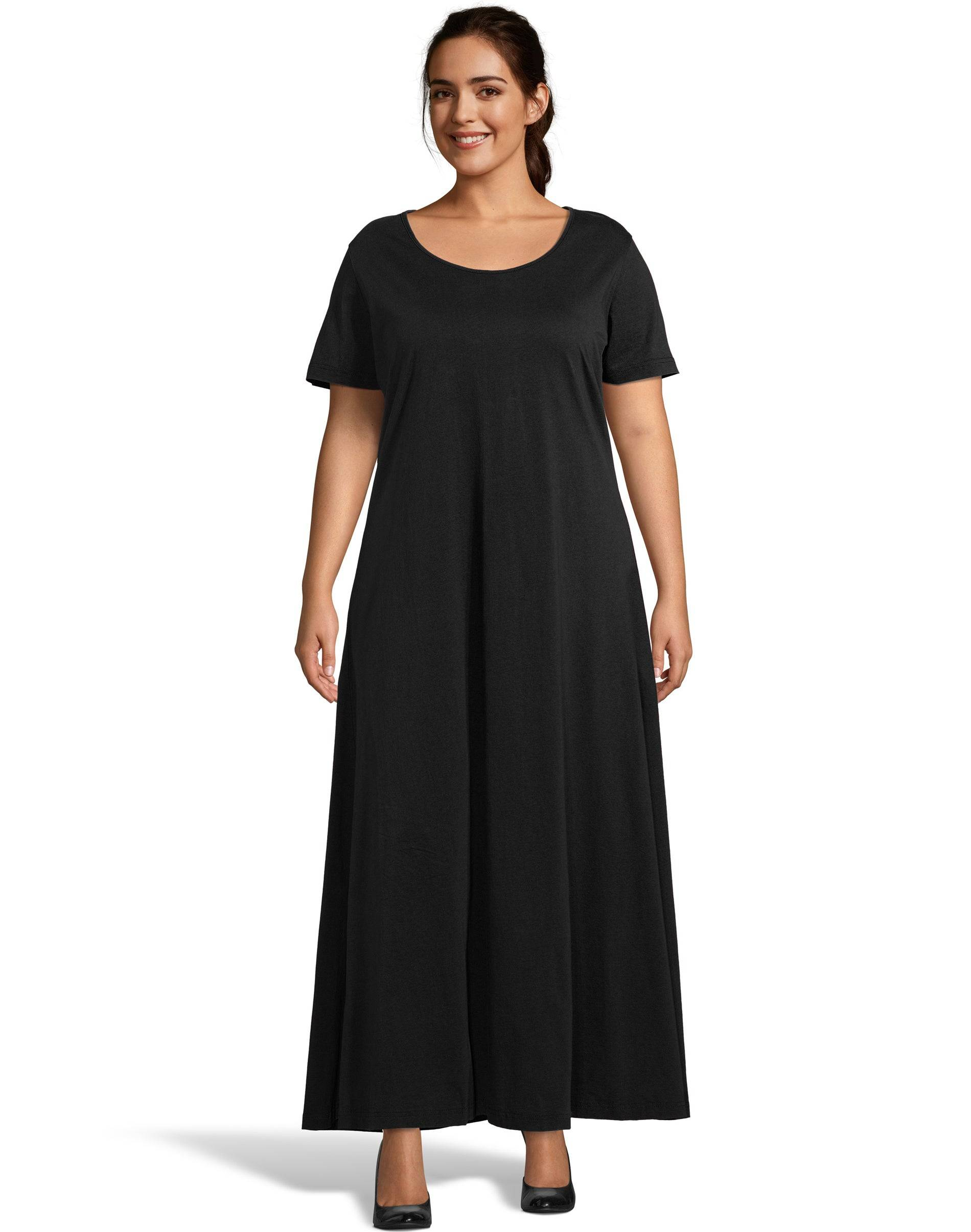 Just My Size Jersey Matchables Maxi Dress Black 2X Women's