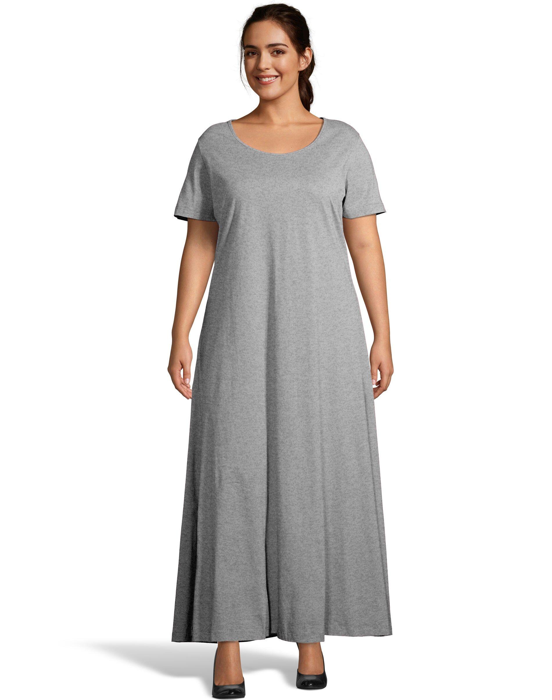 Just My Size Jersey Matchables Maxi Dress Grey Heather 1X Women's