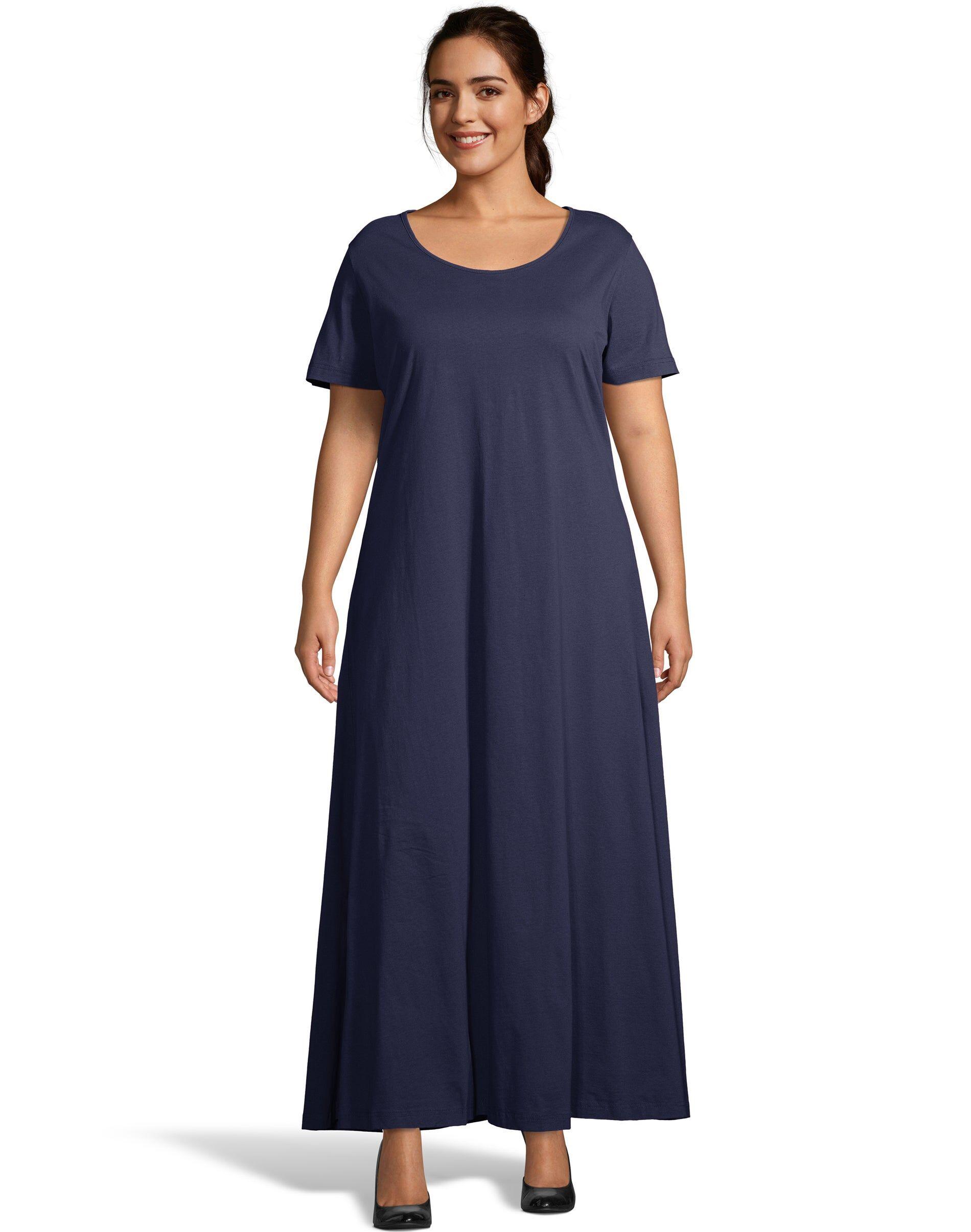 Just My Size Jersey Matchables Maxi Dress Navy 1X Women's