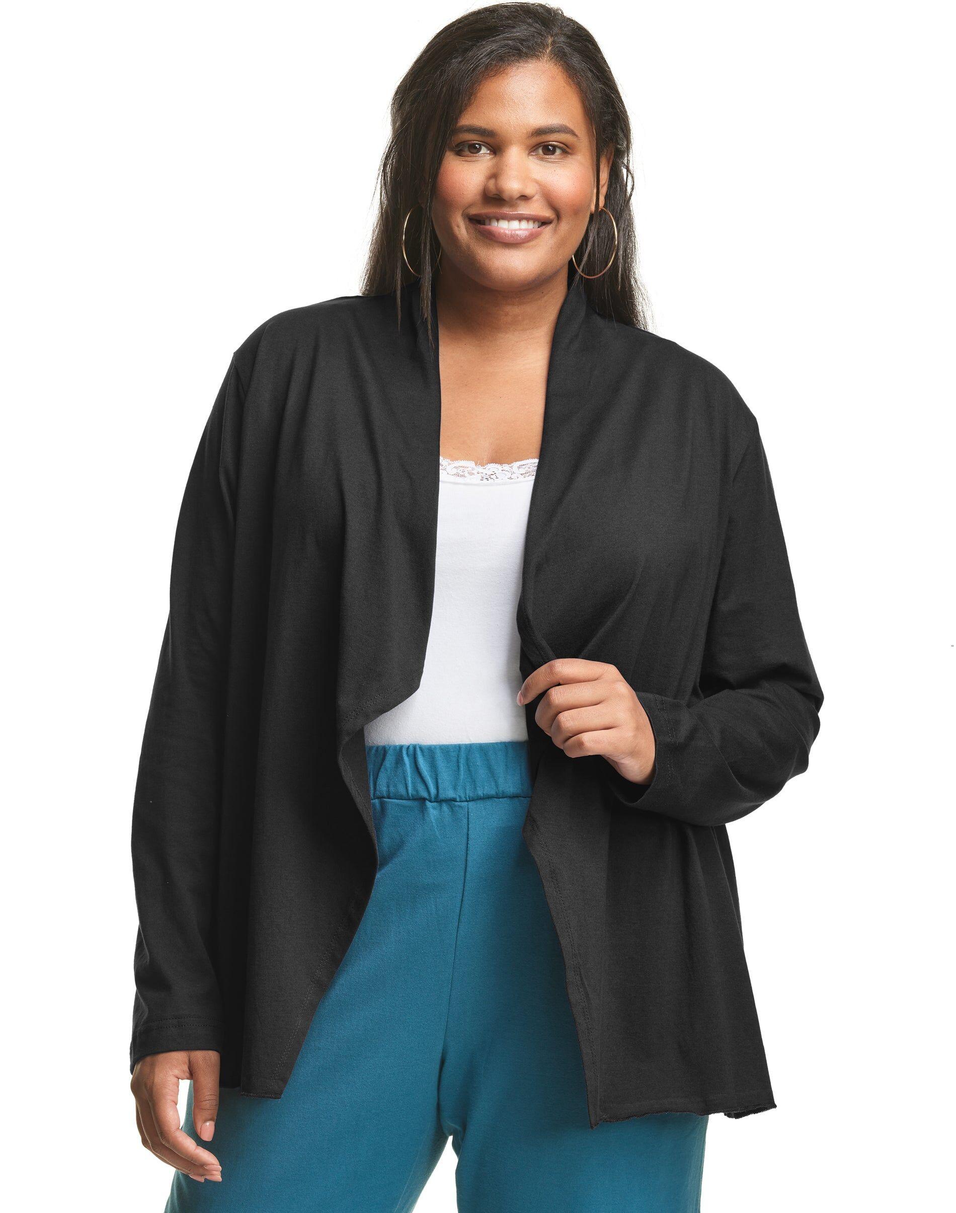 Just My Size Jersey Matchables Swing Cardigan Black 4X Women's