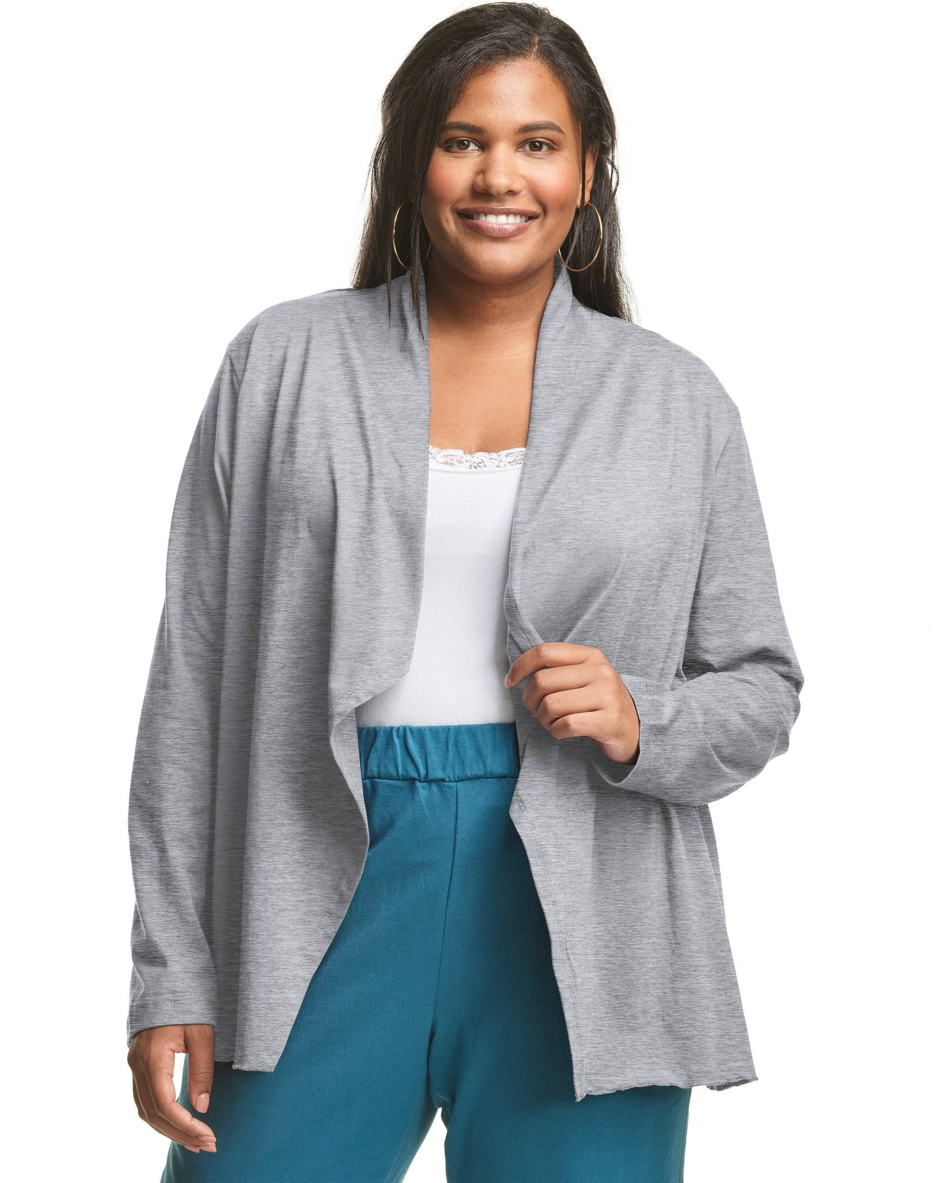 Just My Size Jersey Matchables Swing Cardigan Grey Heather 5X Women's