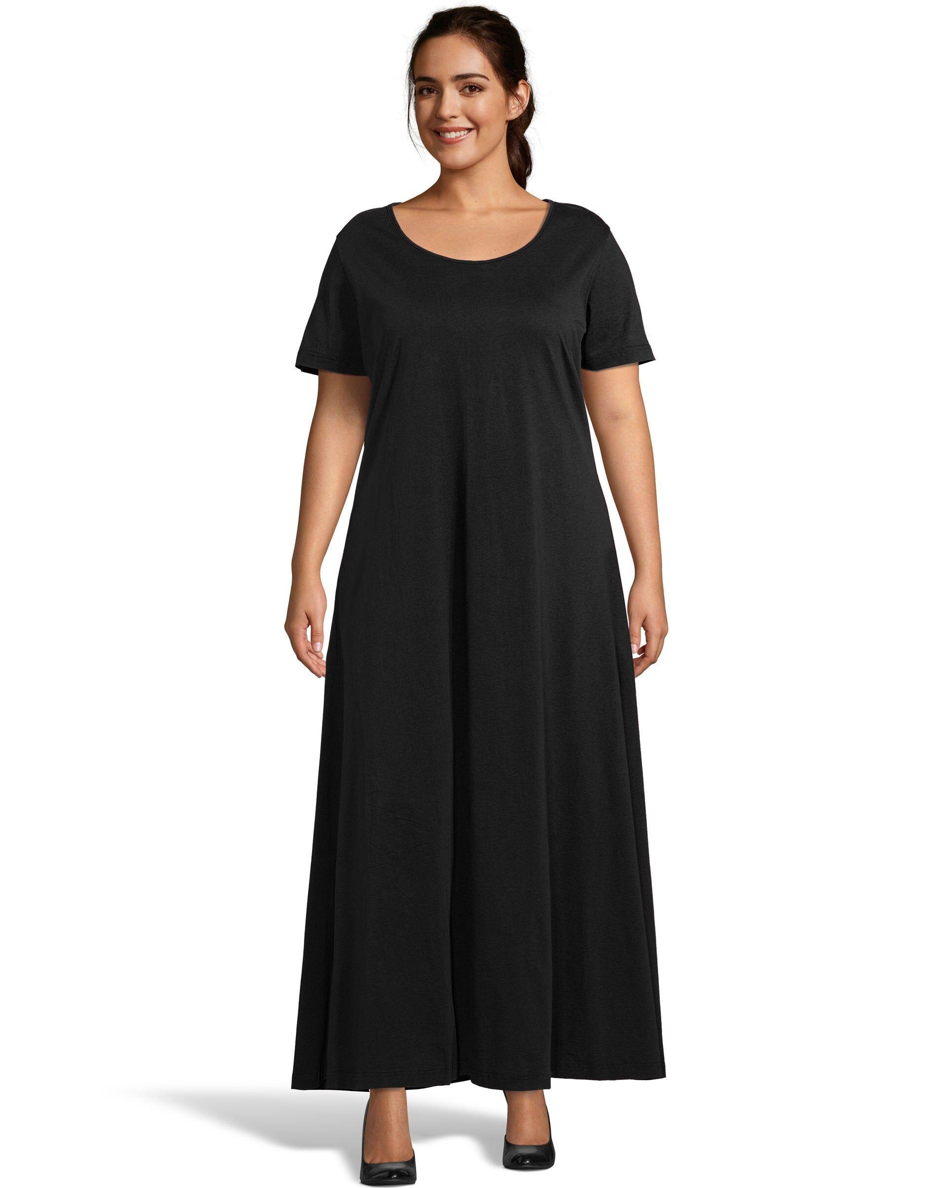 Just My Size Jersey Matchables Maxi Dress Black 1X Women's