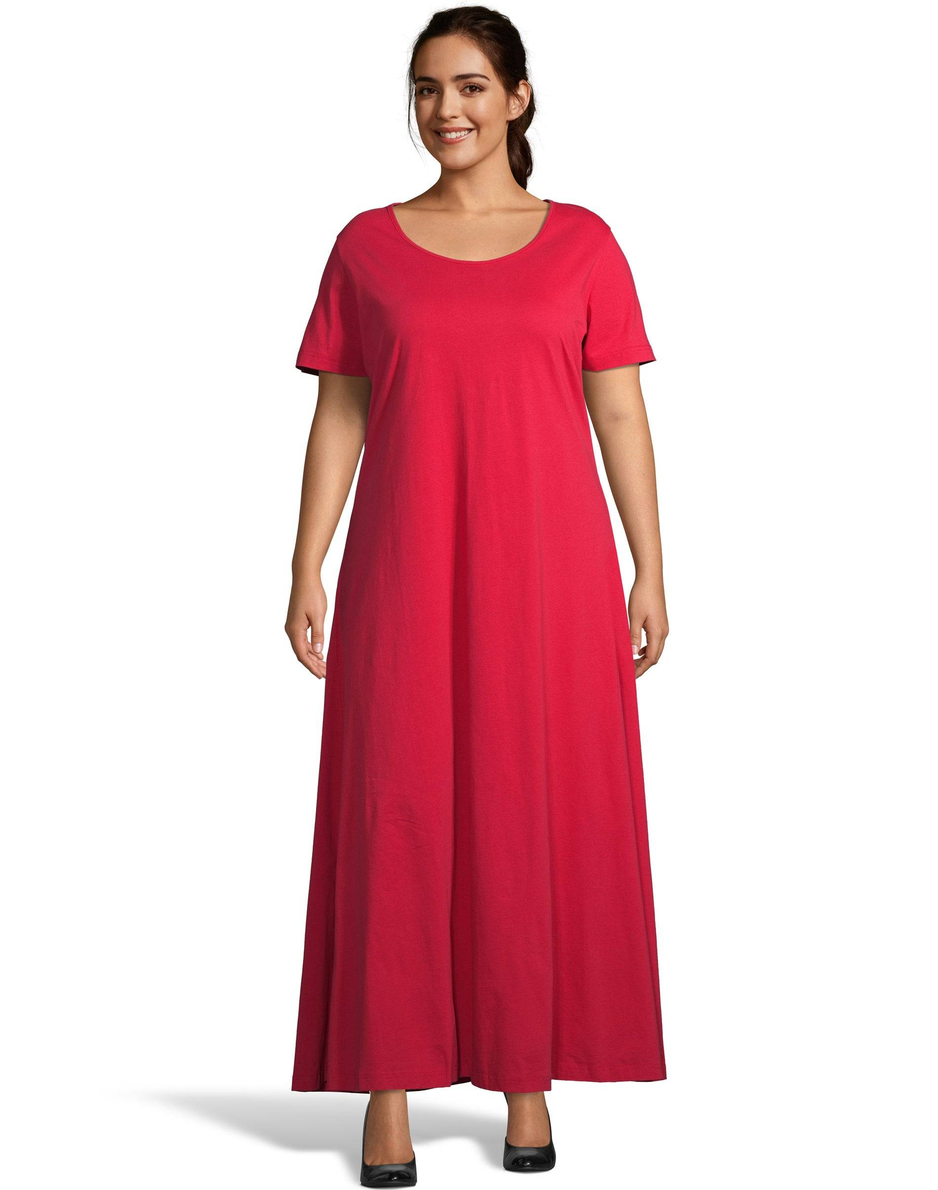 Just My Size Jersey Matchables Maxi Dress Fire Roasted Red 1X Women's