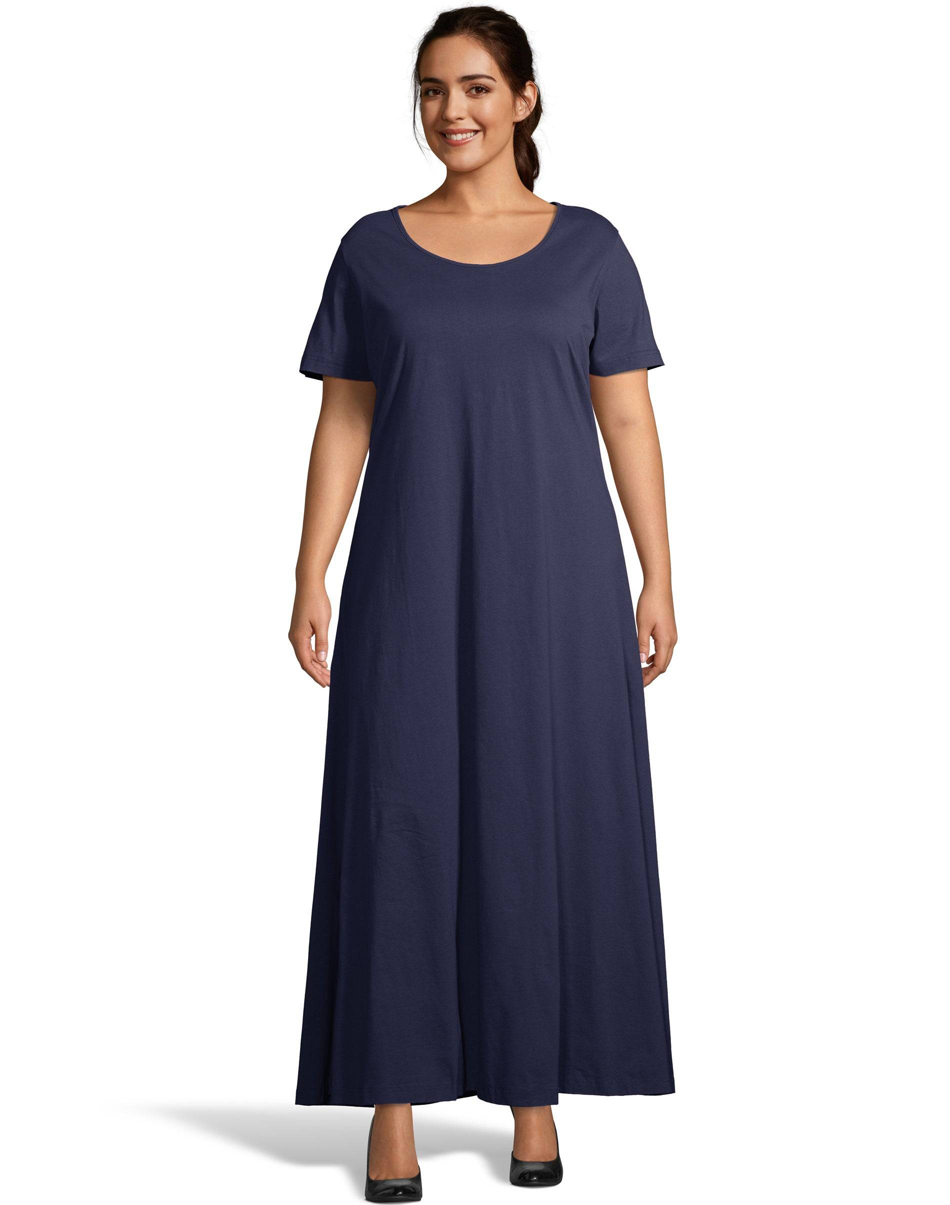 Just My Size Jersey Matchables Maxi Dress Navy 3X Women's