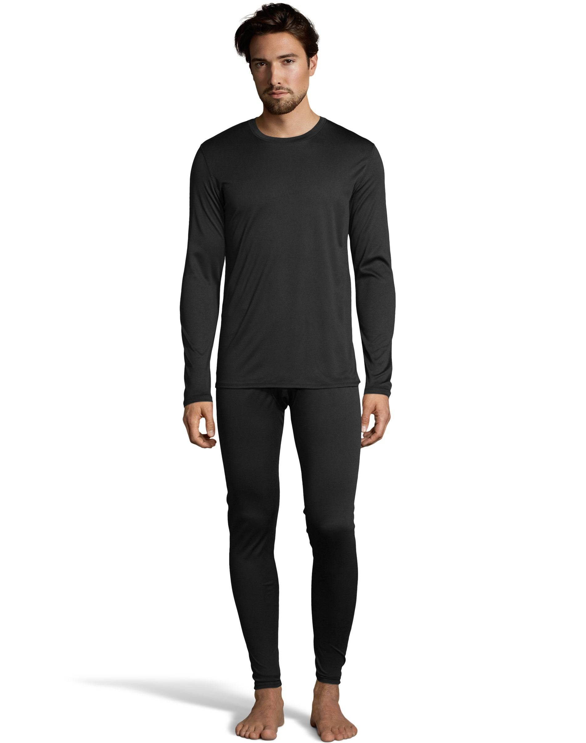 Cuddl Duds Climate Essentials by Cuddl Duds Men's Poly Thermal Set Black 2XL