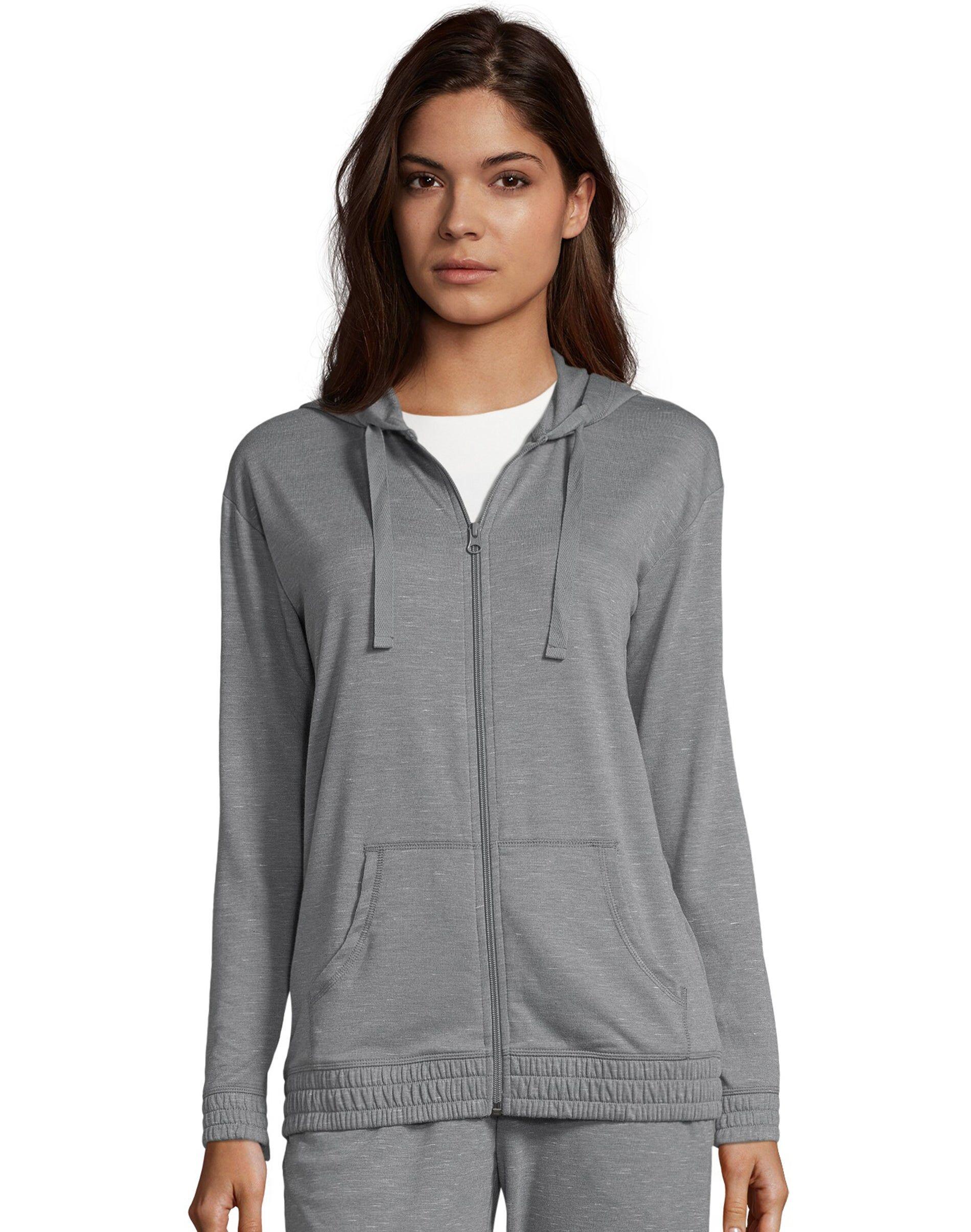Hanes Women's French Terry Full Zip Hoodie Dada Grey Heather XL