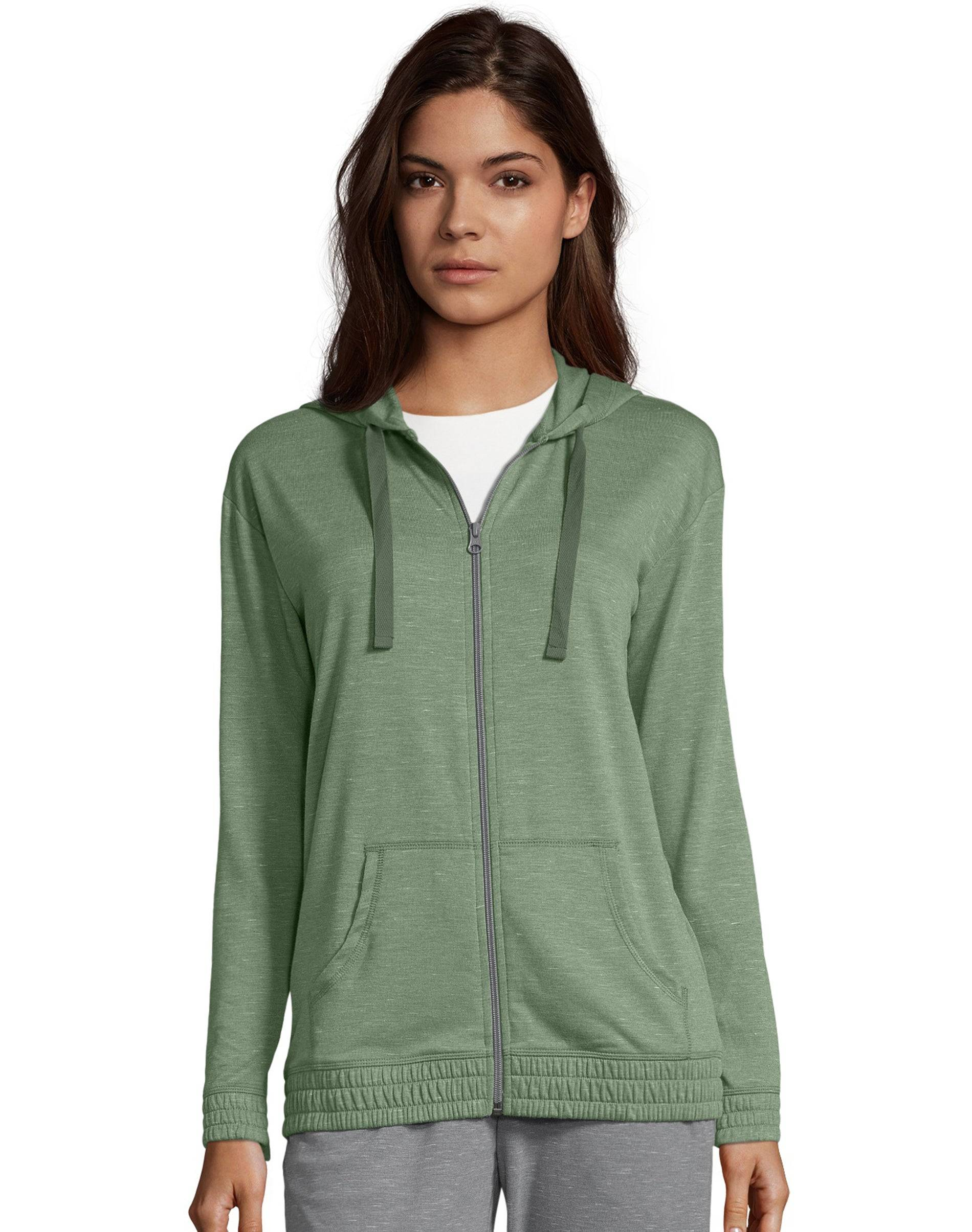 Hanes Women's French Terry Full Zip Hoodie Nature Green Heather L