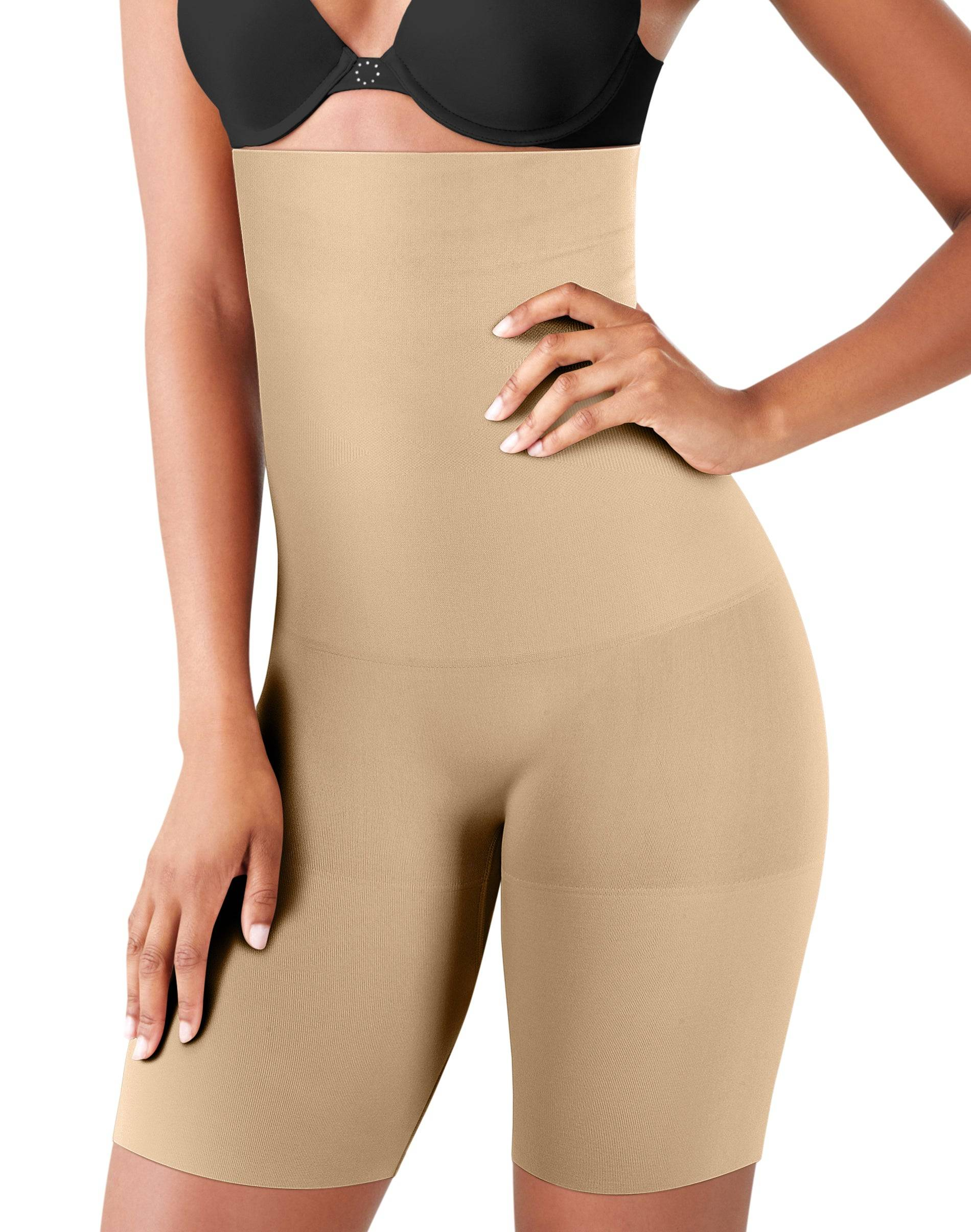 Maidenform High Waist Thigh Slimmer Latte Lift L Women's