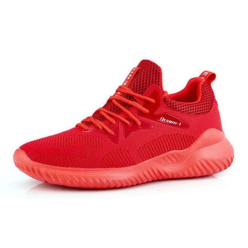 Men's Four Seasons Lace-up Breathbale Mesh Sports Shoes02635red10.5