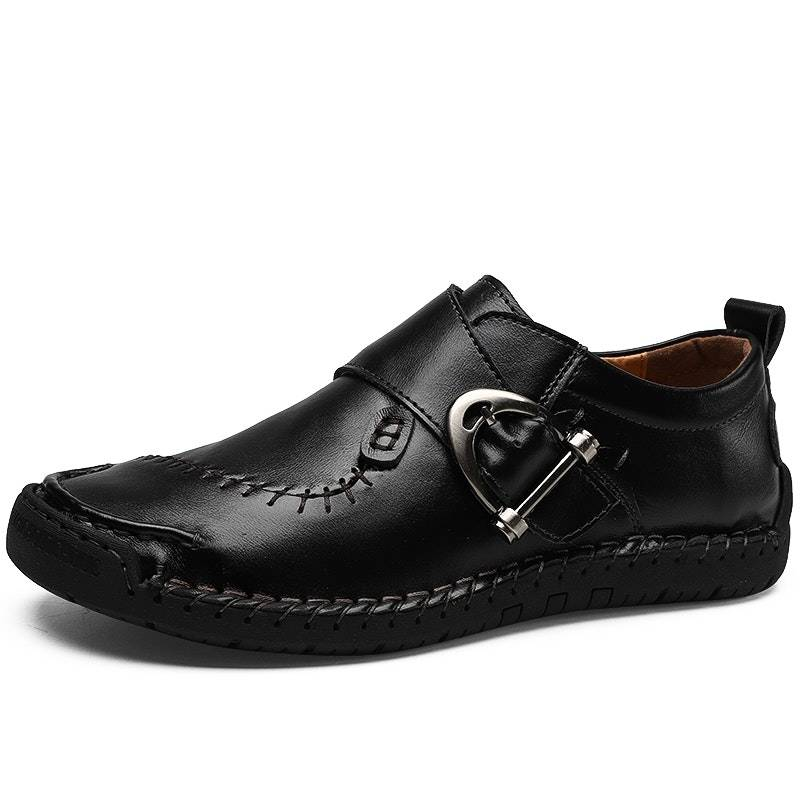 Men's Four Seasons Handmade Buckle Leather Driving Shoes02592black8