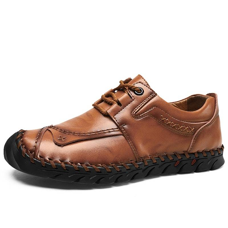 Men's Four Seasons Lace-up Handmade Leather Driving Shoes02593yellowbrown10.5