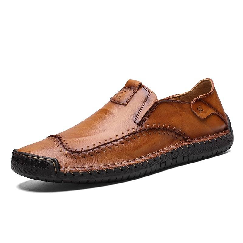 Men's Four Seasons Hand Stitching Lightweight Leather Driving Shoes02602yellowbrown8.5