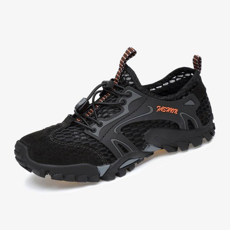 Men's Four Seasons Quick Dry Lightweight Leather Hiking Water Shoes02620black11.5
