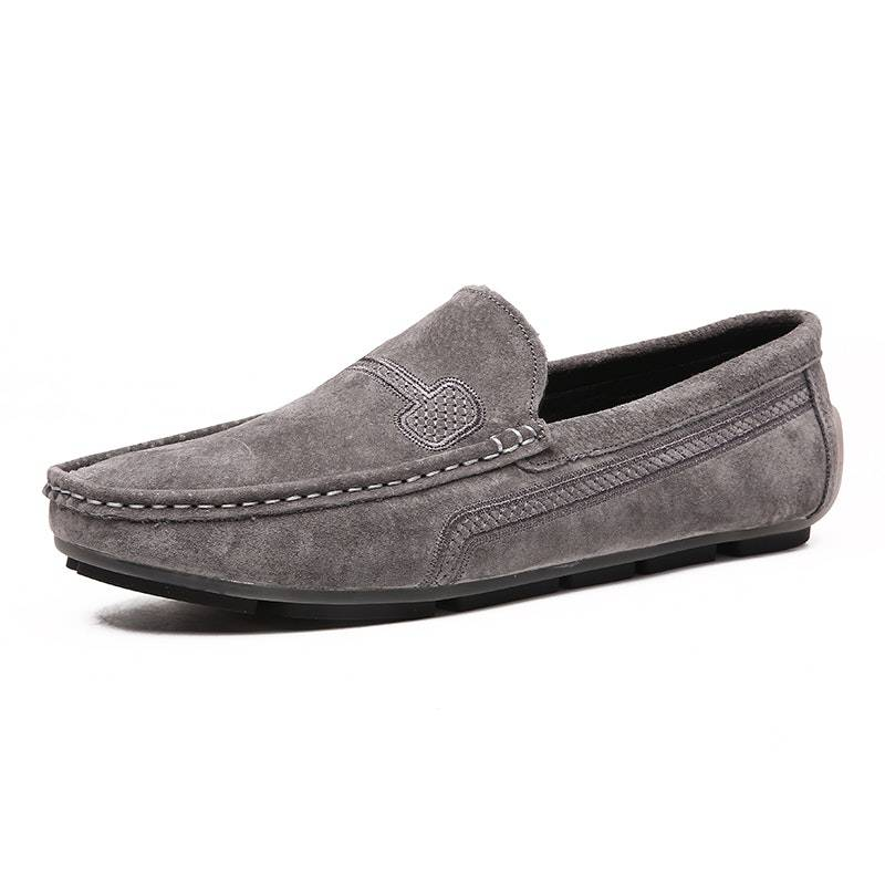 Men's Four Seasons Fashion Slip-on Suede Driving Shoes02659grey10.5