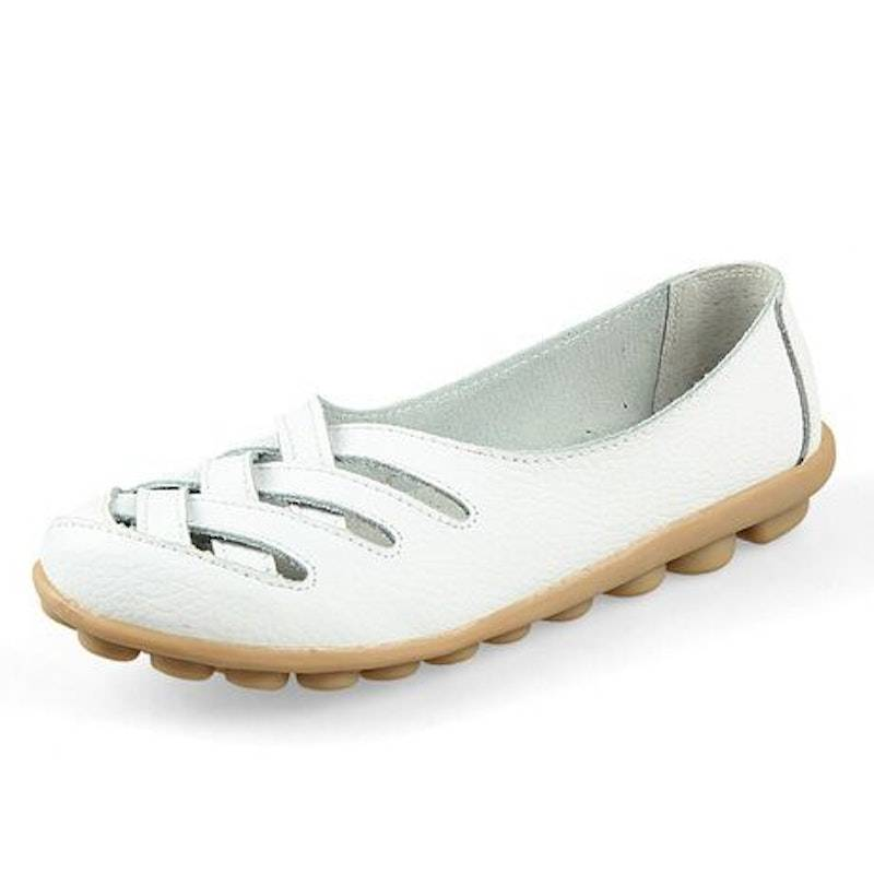 Women's Summer Hollow Breathable Leather Casual Shoes02729white10