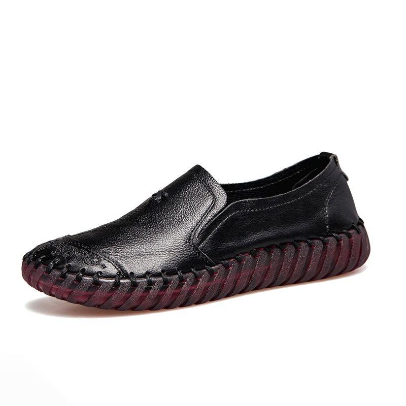 Women's Four Seasons Handmade Flat Leather Casual Shoes02759black6
