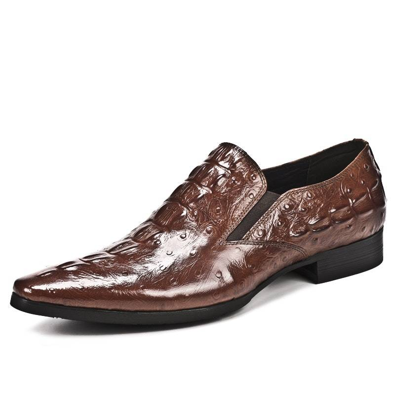 Men's Four Seasons Crocodile Pattern Stylish Leather Business Shoes02871brown10
