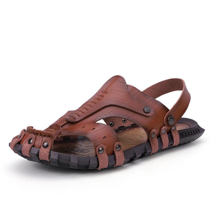 Men Outdoor Water Garden No-glue Slip Resistant Gladiator Sandals03002brown10