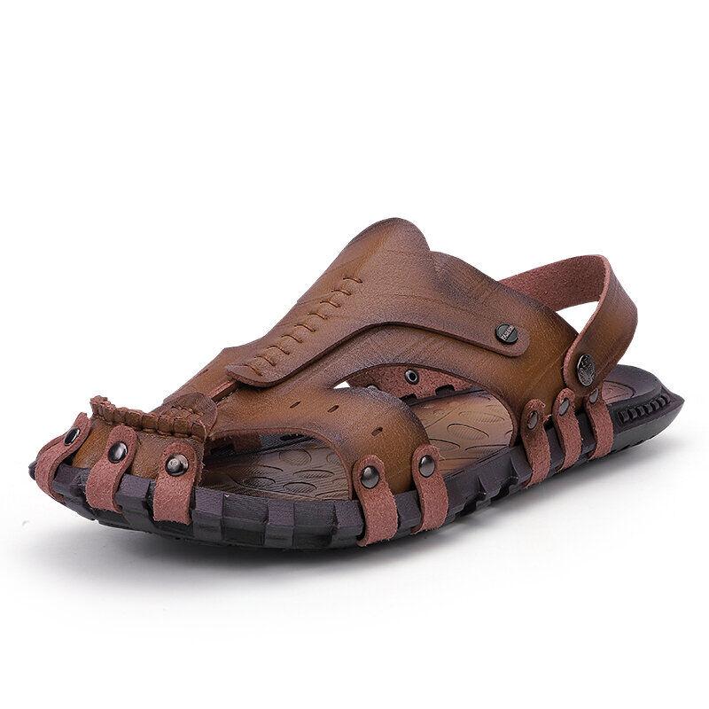 Men Outdoor Water Garden No-glue Slip Resistant Gladiator Sandals03002khaki7.5