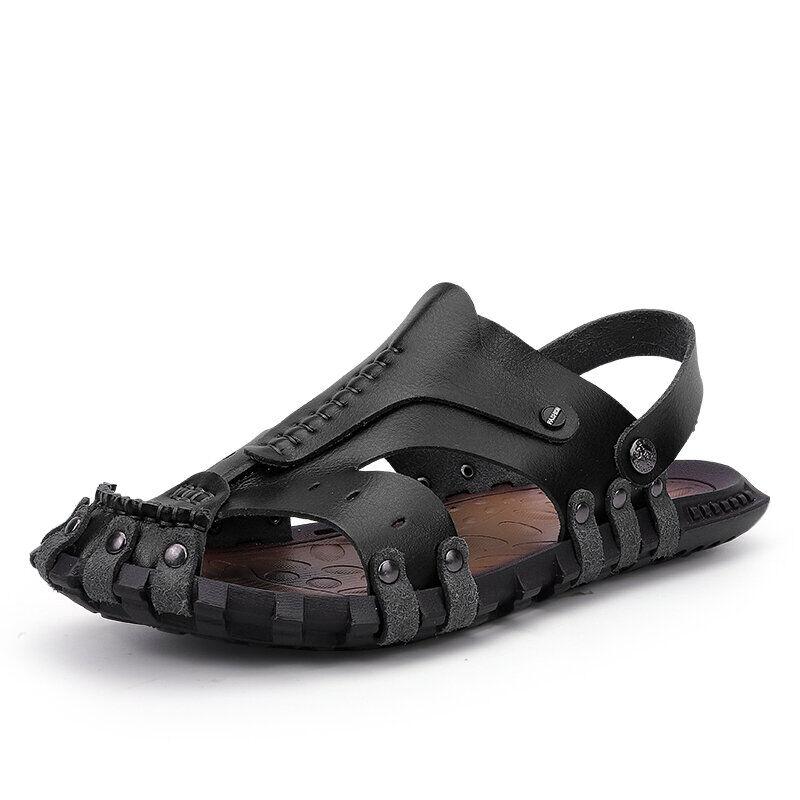 Men Outdoor Water Garden No-glue Slip Resistant Gladiator Sandals03002black7.5