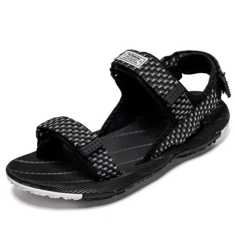 Men Fabric Sports Non Slip Hook Loop Casual Beach Sandals03347black7.5