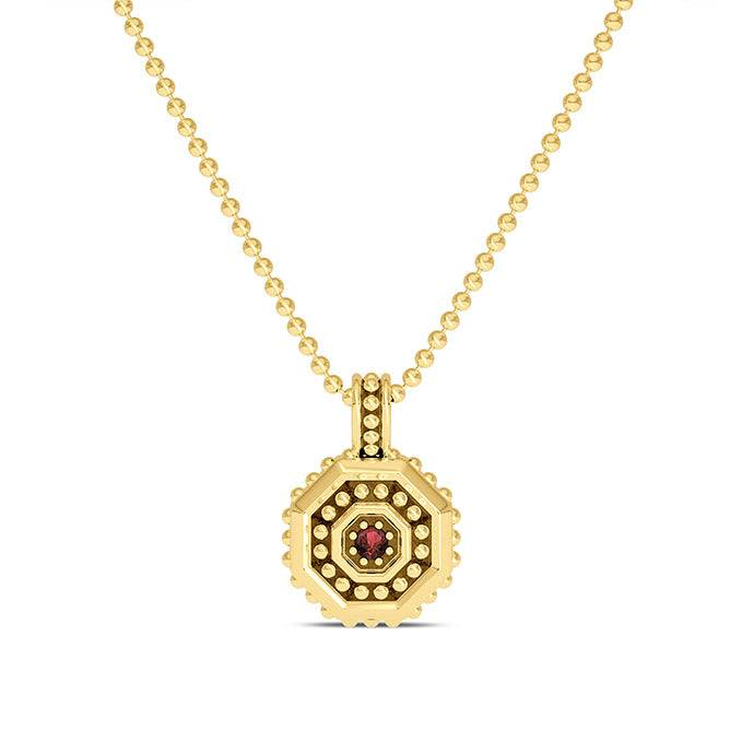 Bixler UFC Premium Octagon 14K Yellow Gold and Garnet Gemstone Pendant as seen on the UFC Octagon Girls