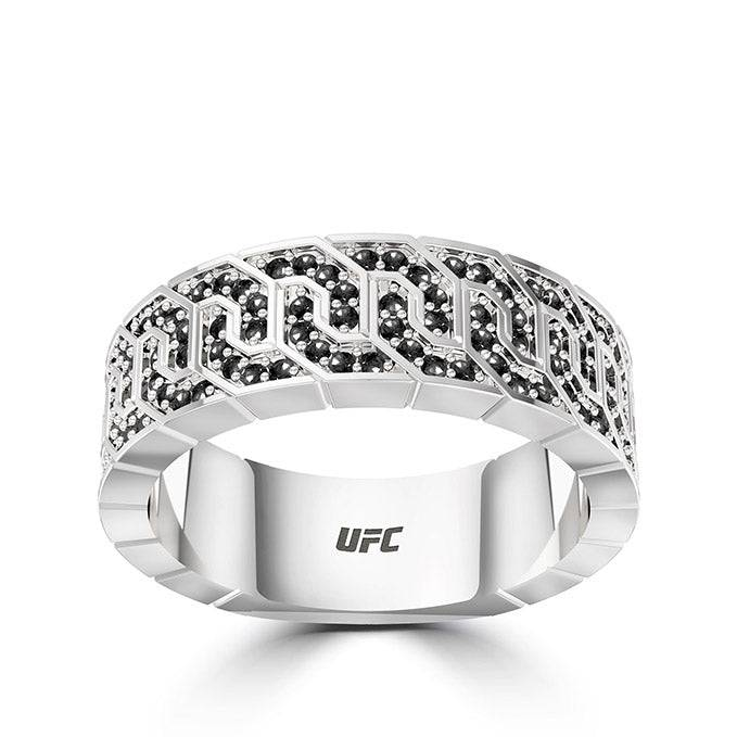 Bixler UFC Deluxe Octagon Black Diamond Ring in Sterling Silver