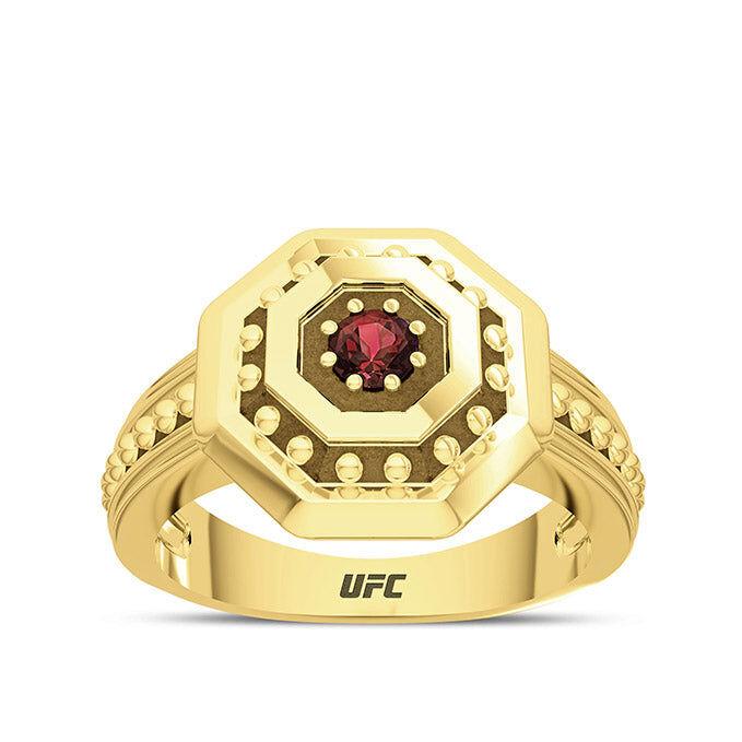 Bixler UFC Premium Octagon 14K Yellow Gold and Garnet Gemstone Ring