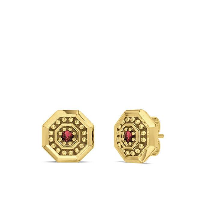 Bixler UFC Premium Octagon 14K Yellow Gold and Garnet Gemstone Stud Earrings
