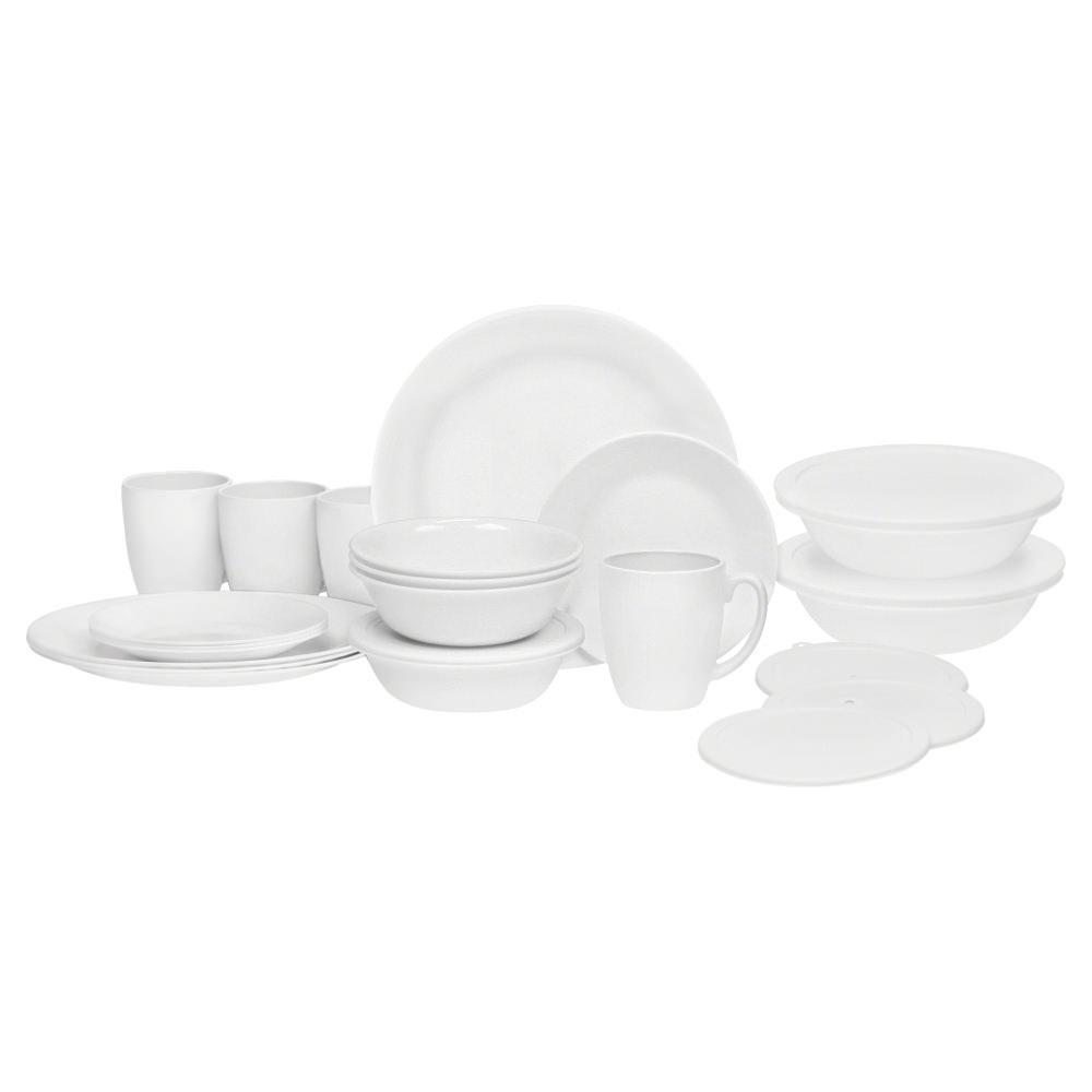 World Kitchen LLC Corelle Livingware 24-piece Dinnerware Set, Winter Frost White