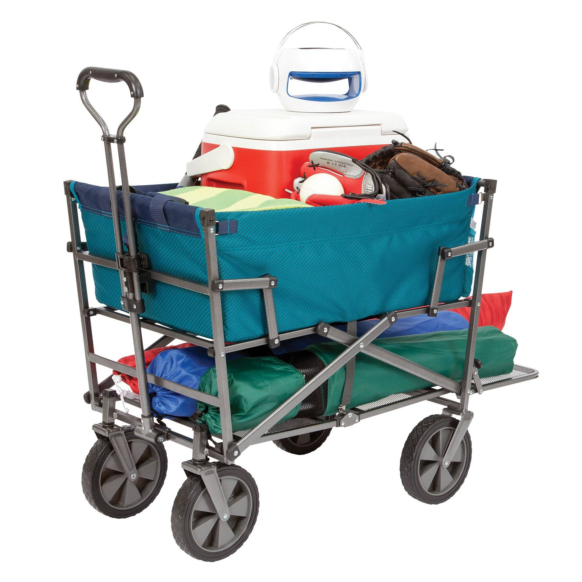 Mac Sports Collapsible Double Decker Outdoor Utility Wagon, Teal