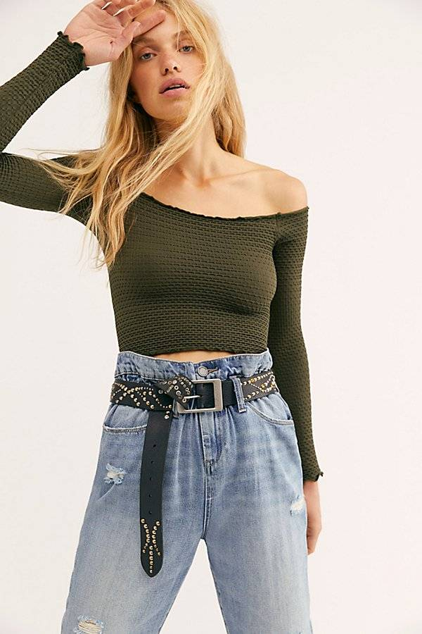 Intimately Textured Long Sleeve Crop by Intimately at Free People, Hunter Green, M/L