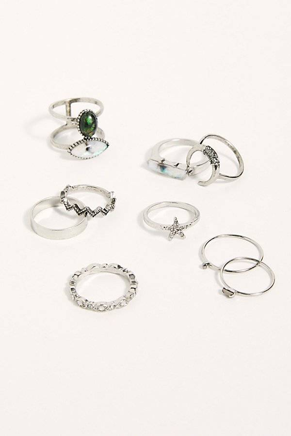Free People Mix It Up Ring Set by Free People, Silver Opal, One Size