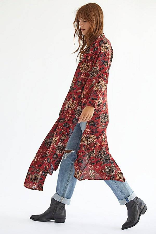 Free People Play It Cool Kimono by Free People, Brown Combo, M
