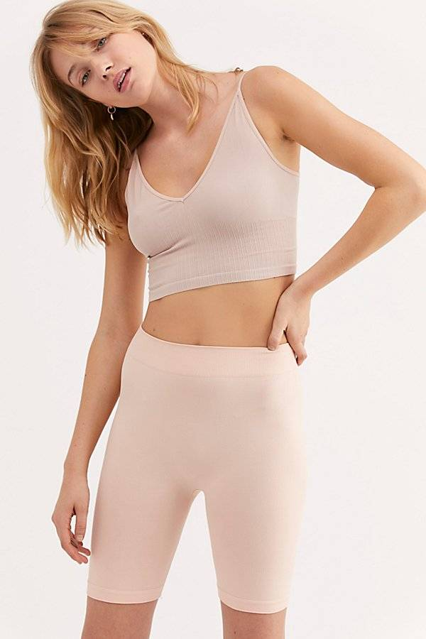 Intimately Seamless Rib Bike Short by Intimately at Free People, Peach, XS/S