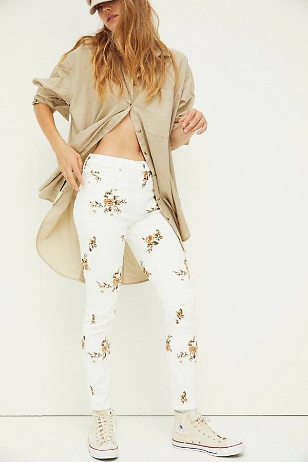 Driftwood Jackie Jeans by Driftwood at Free People, White Ditzy Garden, 28