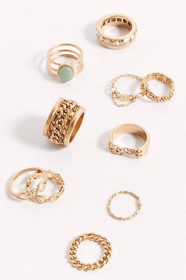 Free People Chain Ring Set by Free People, Gold, One Size