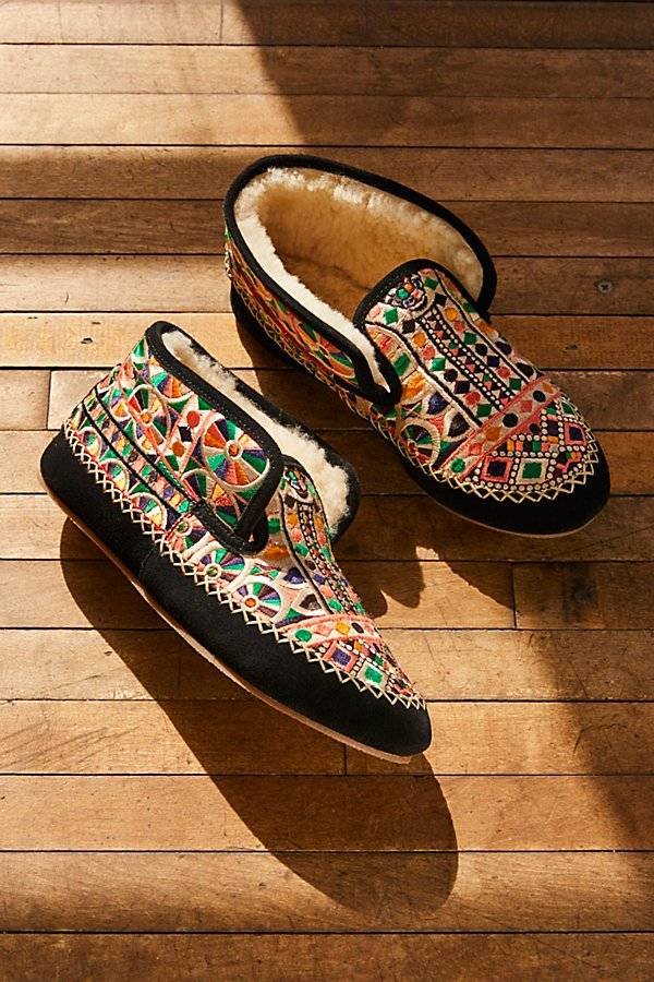 Llani Shoes Llani Shearling Kantha Slippers by Llani Shoes at Free People, Black / Multi, EU 38