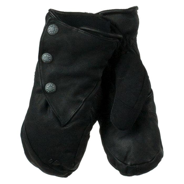 Obermeyer Women's Gates Leather & Down Mitten  - Black - Size: Large