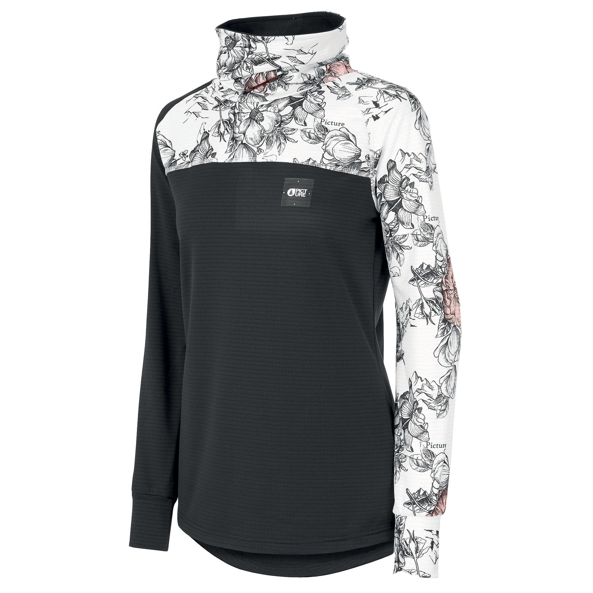 Picture Organic Clothing Women's Blossom Grid Fleece Shirt  - Peonies Black - Size: Medium