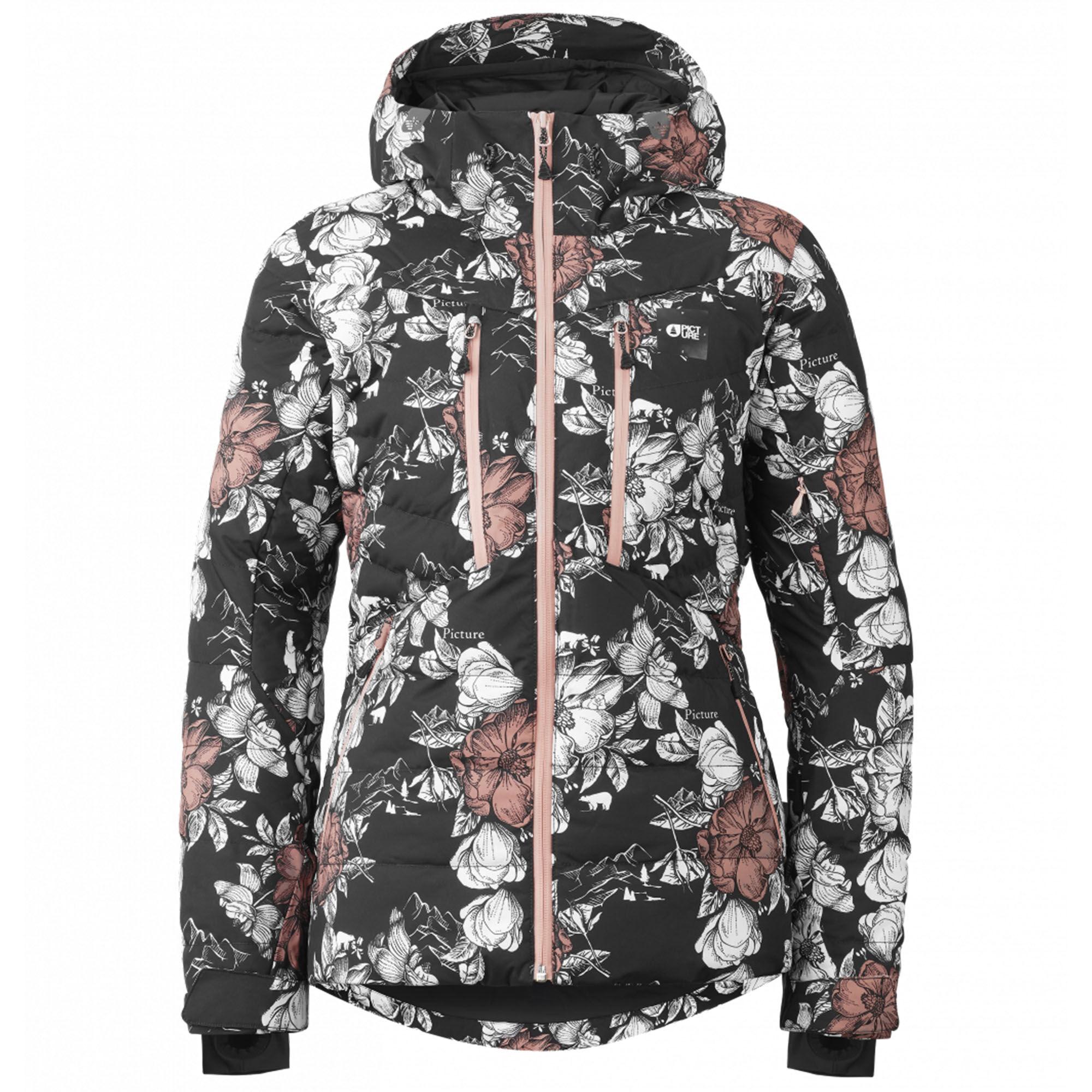 Picture Organic Clothing Women's Pluma Jacket  - Peonies Black - Size: Medium