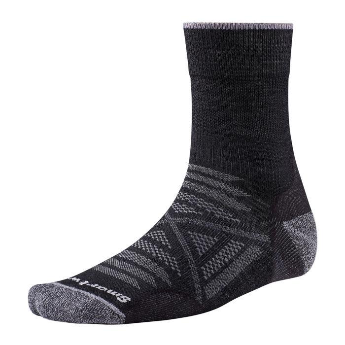 Smartwool Men's PhD Outdoor Light Mid Crew Socks  - Black - Size: Medium