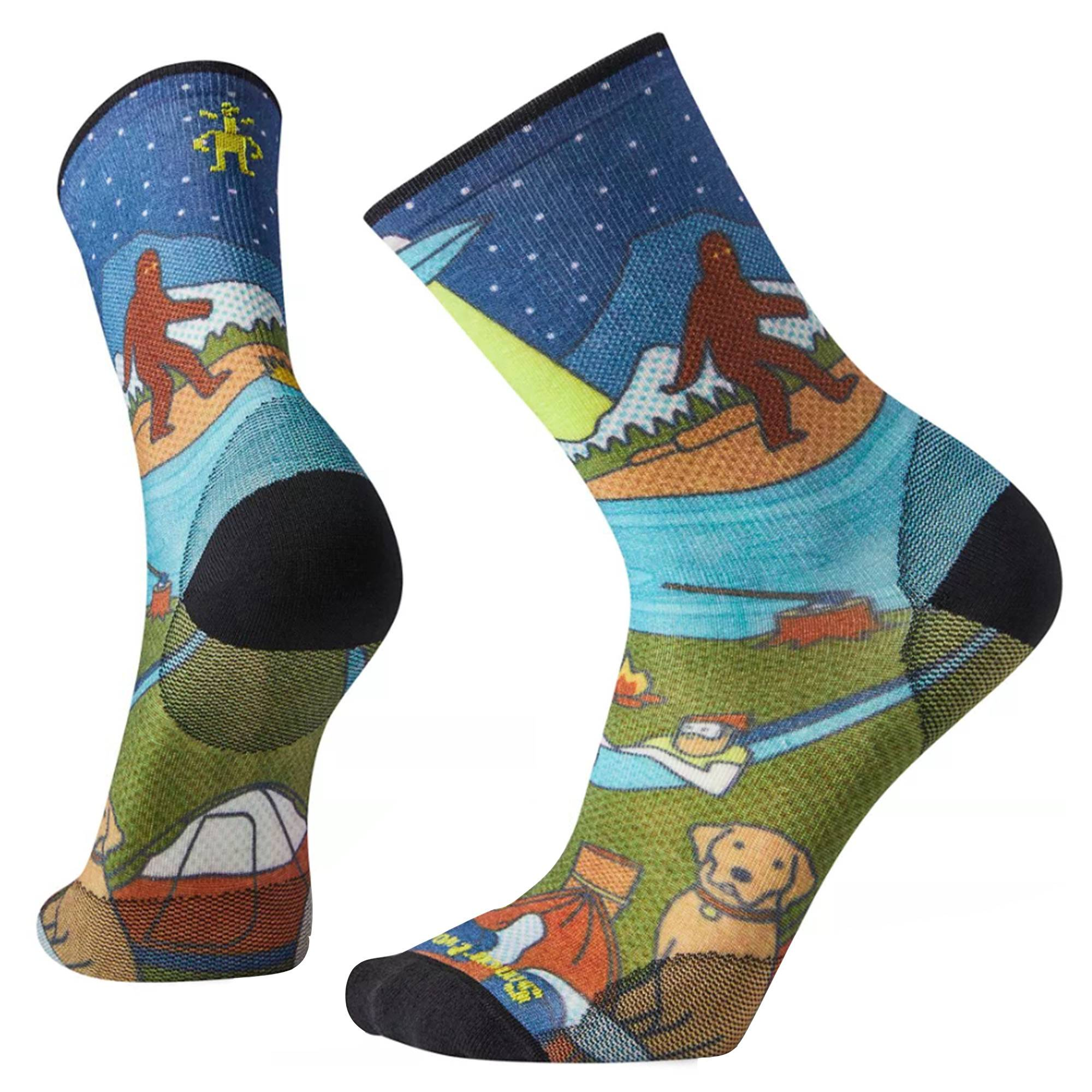 Smartwool Men's PHD Outdoor Ultra Light Monster Camping Print Crew Socks  - Multicolored - Size: Large