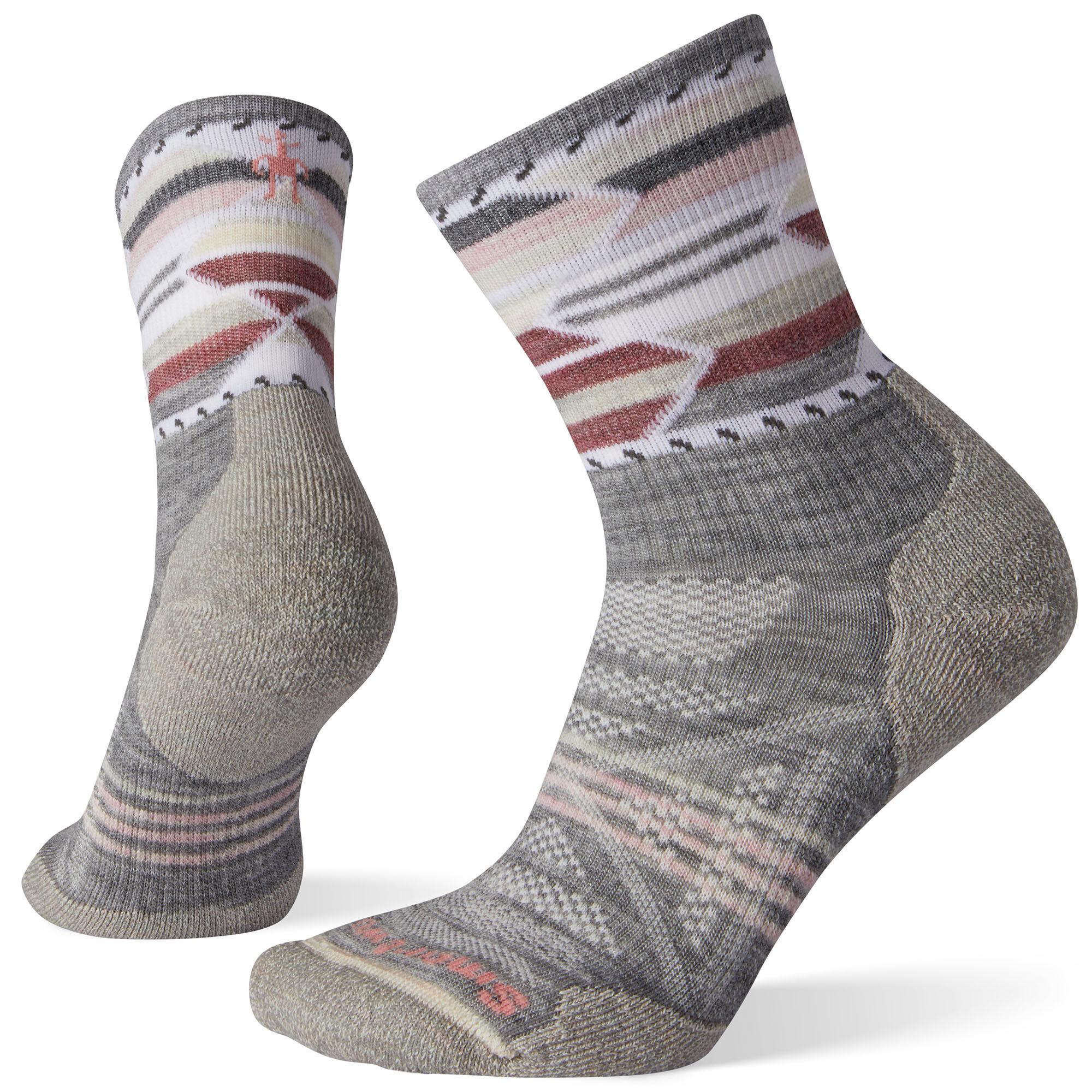 Smartwool Women's PhD Outdoor Light Pattern Mid Crew Hiking Socks  - Light Gray - Size: Large