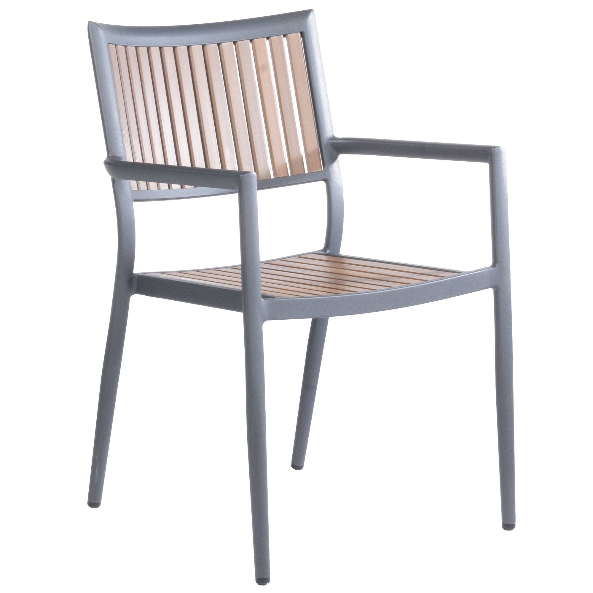 Alfresco Home Penelope Stackable Dining Arm Chair  - Aluminum - Size: One Size