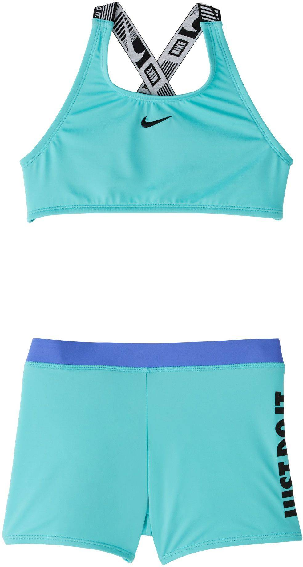 Nike Girls' JDI Crossback Sport Two Piece Swimsuit, Small, Aurora Green