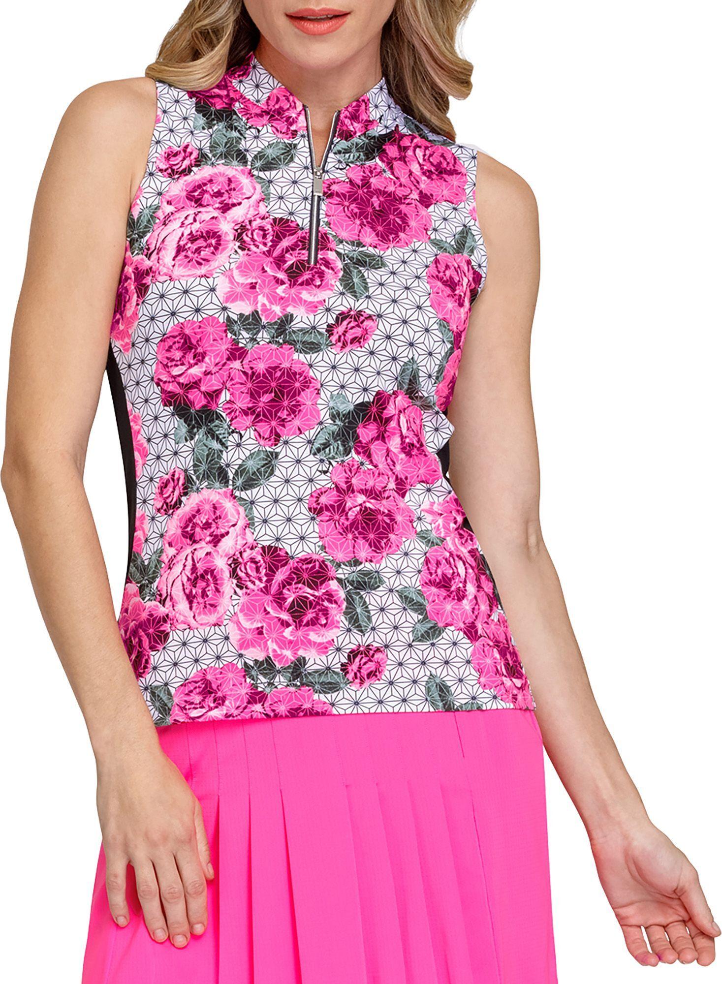 Tail Women's Sharon Novelty Zip Neck Sleeveless Shirt, Medium, Garden Geo