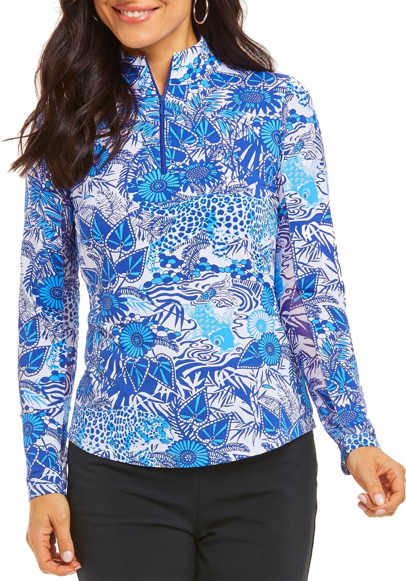 IBKUL Women's Hearts Mock Neck Long Sleeve Shirt, XL, Bamboo Garden Blue Tonal