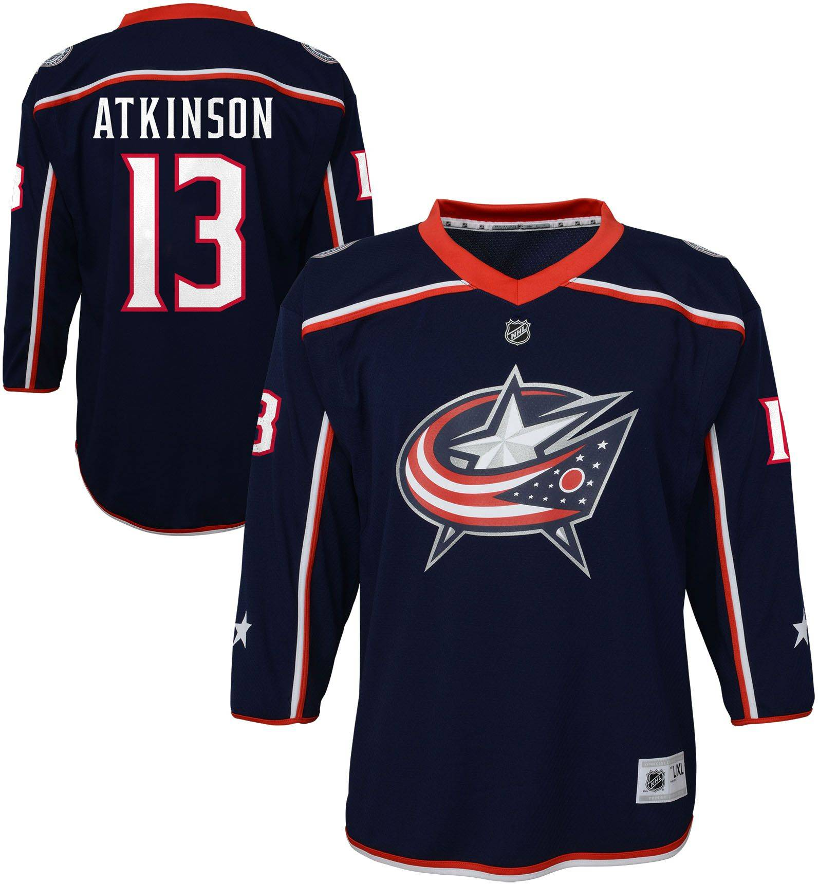 NHL Youth Columbus Blue Jackets Cam Atkinson #13 Replica Home Jersey, Kids, Small/Medium